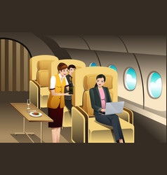first class passengers being served by the flight vector image