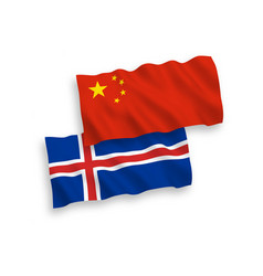 flags iceland and china on a white background vector image