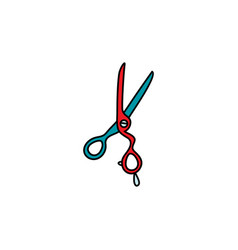 flat hair scissors icon isolated vector image