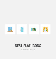 Flat icon window set of glass frame flowerpot vector