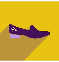 Flat icon with long shadow heeled shoes vector