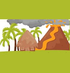 Flat scene of volcanic eruption hot lava vector