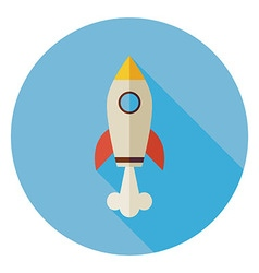 Flat Space Shuttle Rocket Circle Icon with Long vector