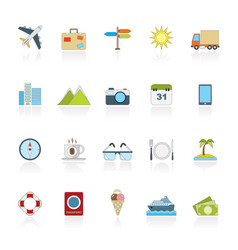flat travel and trip icons vector image