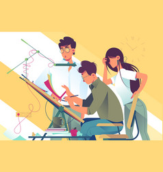 Flat young woman and man team at work on design vector