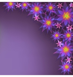 Floral purple background greeting card with vector image