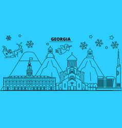 Georgia winter holidays skyline merry christmas vector