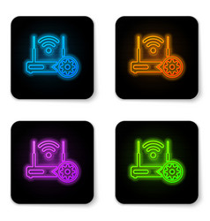 Glowing neon router and wi-fi signal and gear vector