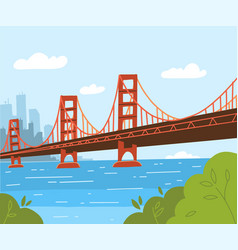 golden gate bridge flat style design day vector image