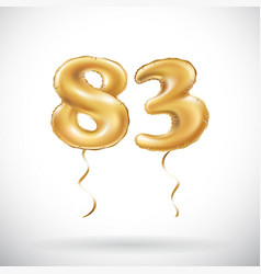 golden number 83 eighty three metallic balloon vector image