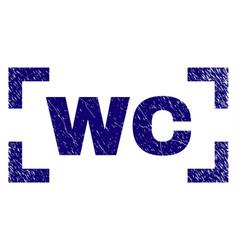 Grunge textured wc stamp seal between corners vector
