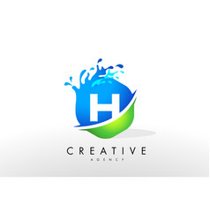 H letter logo blue green splash design vector