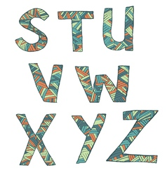 Hand drawn artistic font from lines letters s-z vector