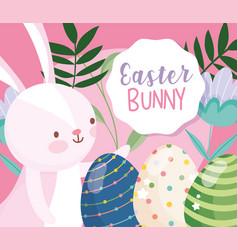 happy easter little rabbit eggs floral decoration vector image