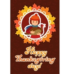 Happy thanksgiving day card with child leafs and vector