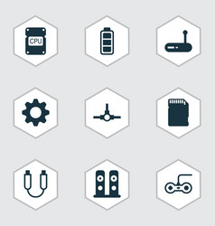 hardware icons set with central processor unit vector image