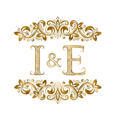 I and e vintage initials logo symbol the letters vector
