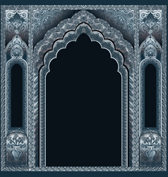 indian ornamented archsilver and background black vector image