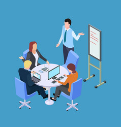Isometric business meeting or conference with info vector
