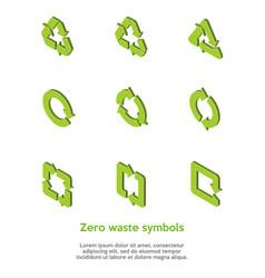 Isometric green zero waste symbols set on the vector