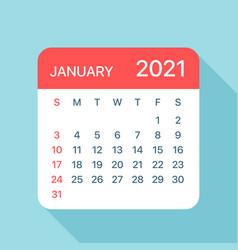 January 2021 calendar leaf vector