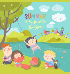 Kids eating watermelon summer picnic by the river vector
