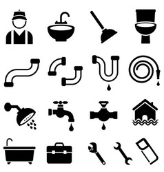 kitchen bathroom and house plumbing icons vector image vector image