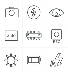 Line Icons Style Photography icons vector
