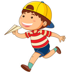 little boy with paper airplane vector image vector image