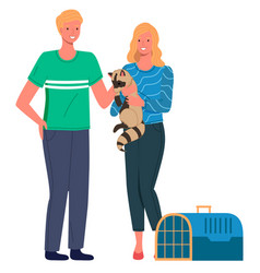 man and woman with their raccoon expecting for vector image