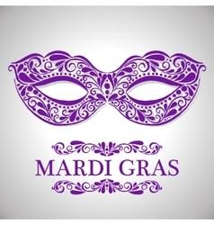 Mardi gras congratulation card with mask vector
