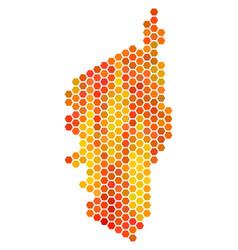 Orange hexagon corsica france island map vector