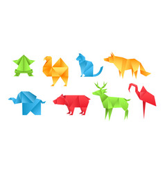 origami animals different paper toys set frog vector image
