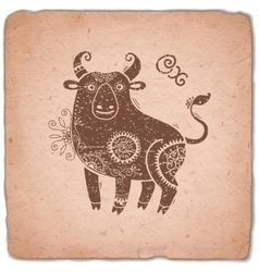 Ox Chinese Zodiac Sign Horoscope Vintage Card vector