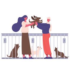 pet adoption people adopting dog from pet shelter vector image