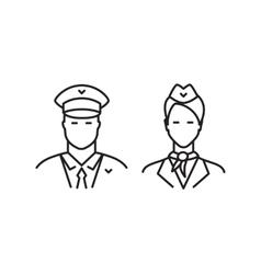 Pilot and stewardess line icons vector image