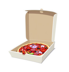 pizza in box italian vector image