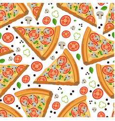 pizza slices with tomatoes and mushrooms seamless vector image