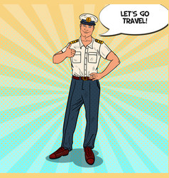 Pop art sea captain thumb up cruise vacation vector