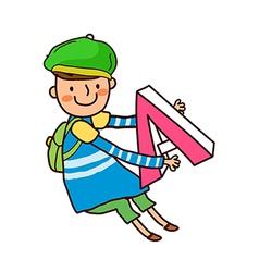 Portrait of boy holding alphabet a vector