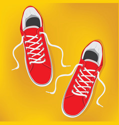 Red pair sneakers with white laces isolated on vector