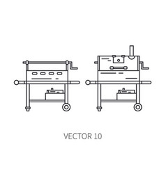 Retro furniture set compact bbq grill smokehouse vector