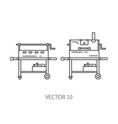 retro furniture set compact bbq grill smokehouse vector image