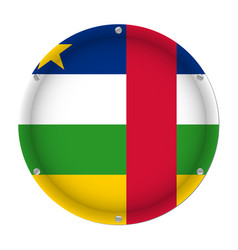 round metallic flag with central african republic vector image