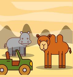 Safari animals cartoon vector