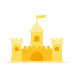 sand castle flat icon isolated on white vector image