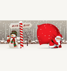 santa claus and snowman with a new year sign vector image