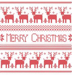 Scandinavian merry christmas nordic pattern vector image