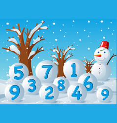 Scene with numbers on snow balls vector
