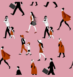seamless pattern people walking families vector image